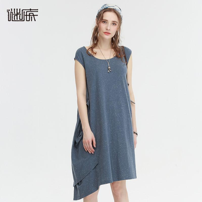 谜底女装夏装新款不对称设计无袖连衣裙7BDL0311