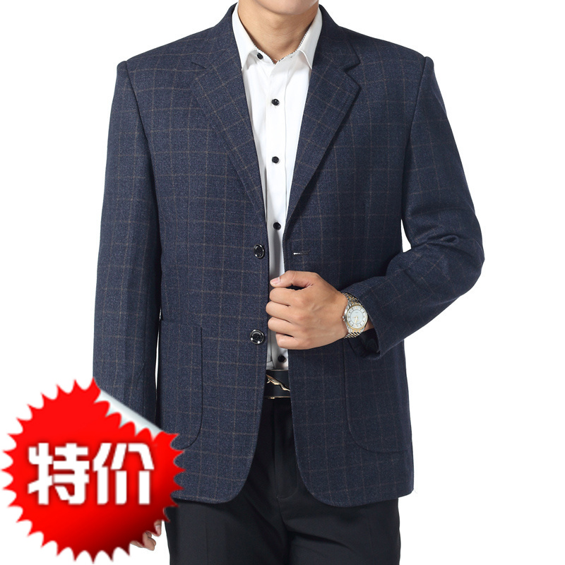 Foreign trade new business suit coat grey middle aged and old peoples small lattice single suit father mens spring and autumn mens wear