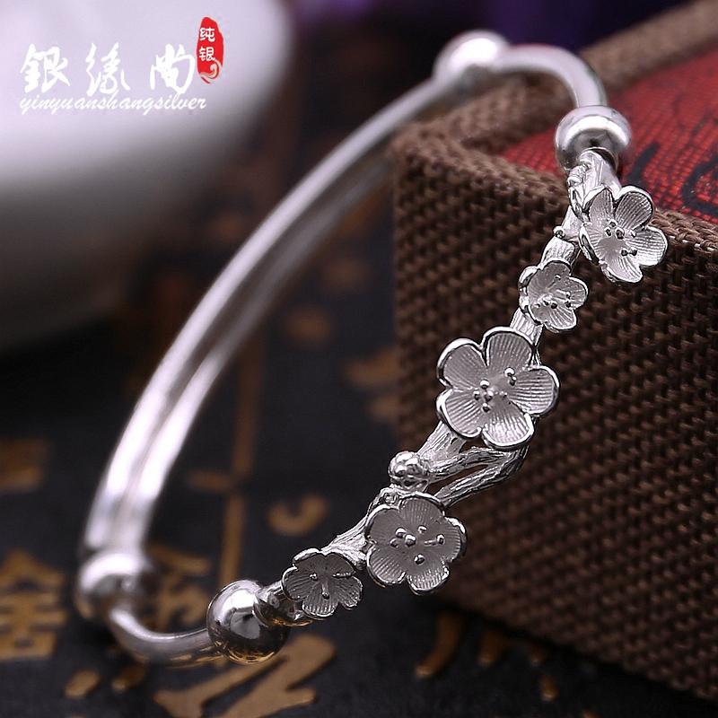 990银梅花手镯女民族风文艺光面推拉款学生创意古典银镯子送女友