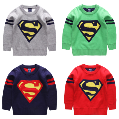 The European and American fashion girls boy baby superman sweater knitted children's wear children into a new jacket unlined upper garment in the autumn of 2015