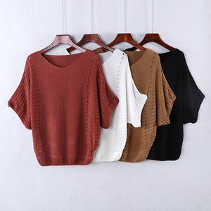 夏装新款韩版宽松针织衫套头毛衣女薄款短袖镂空蝙蝠衫罩衫