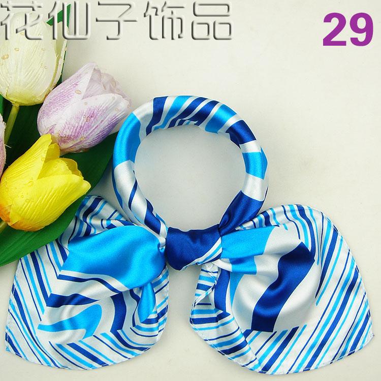 Professional silk scarf stewardess bank employees wear ceremonial scarf small scarf scarf blue stripe 29