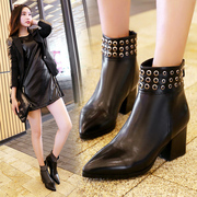 2015 new Martin boots for fall/winter tide girls boots leather pointy high heels nude and crude with side Zip Boots women''''''''s boots