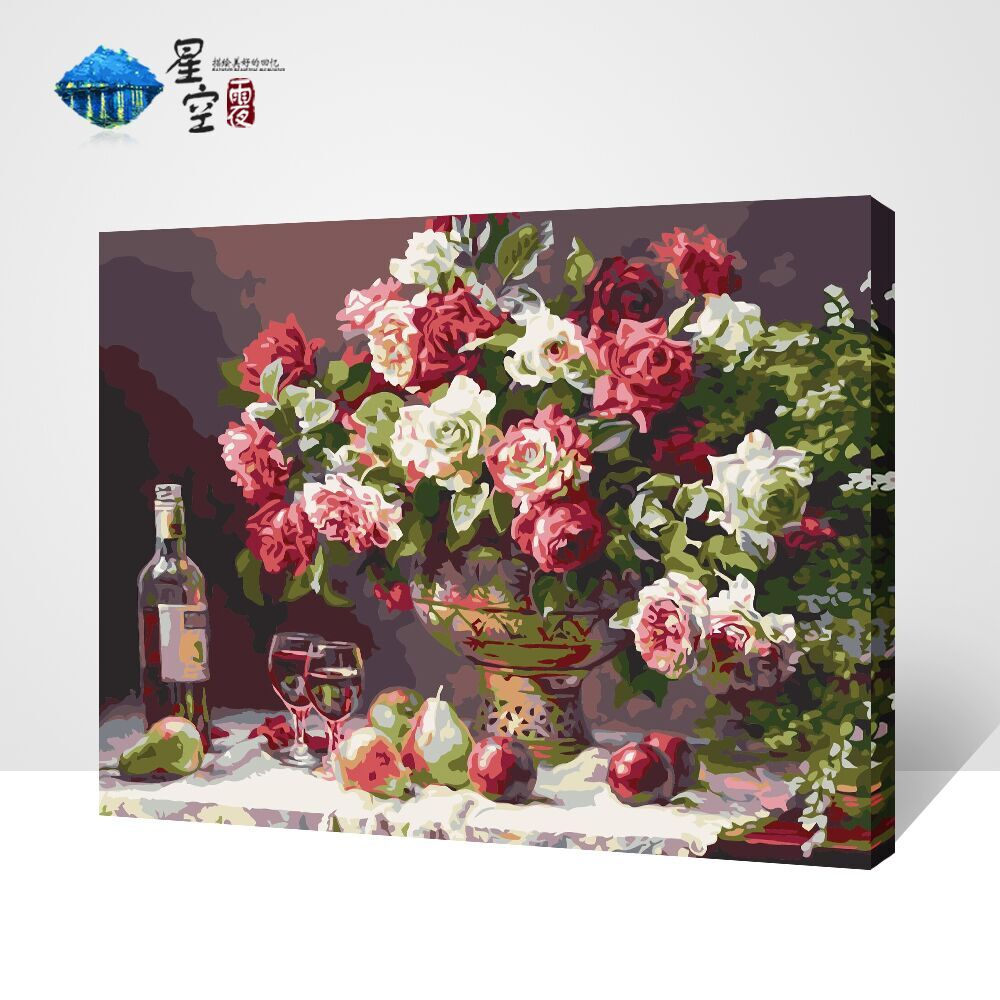 diy数字油画 风景花卉客厅动漫人物动物填色数字画大幅手绘装饰画