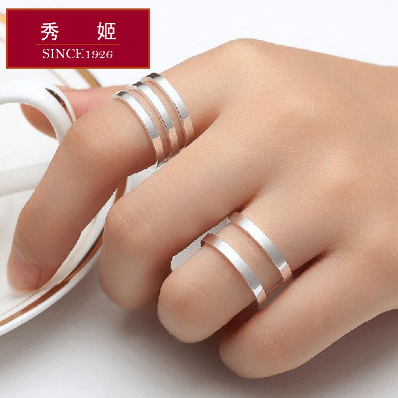 秀姬正品925足银女戒指开口戒子素银戒指指环老凤祥同款银饰品