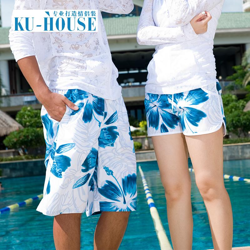 夏天情侶短褲男女沙灘褲寬鬆大碼潮流直筒褲速幹 五分花大褲衩
