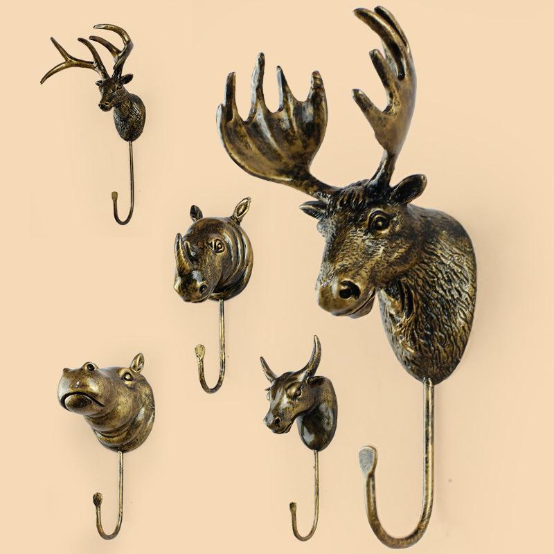 歐式 掛鉤複古牆飾家居裝飾品動物衣帽架玄關牆壁掛飾臥室壁掛