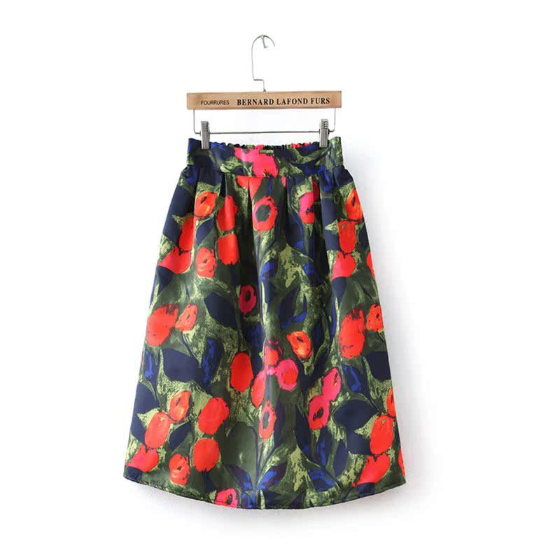 Под яблоней дамы весной 2016 новый BCJ ретро цветок печати пушистые юбки