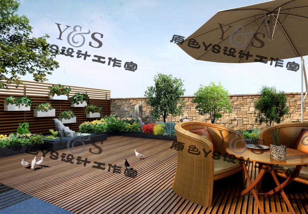 Vertical greening material roof garden private courtyard design PSD source document effect drawing aerial view plan