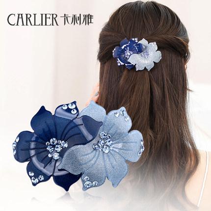 头花发夹发饰韩国水钻头饰弹簧夹成人顶夹淑女夹子蝴蝶结发卡饰品