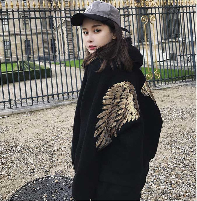 Korean autumn and winter new womens wear street fashion Sequin embroidered wing cardigan jacket short jacket