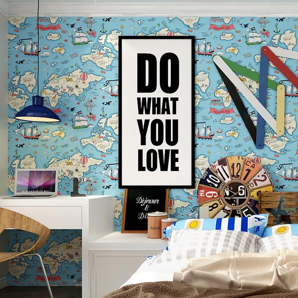 米冠蓝色地中海儿童墙纸 海盗船地图 男孩卧室床头书房无纺布壁纸