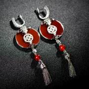 Thai natural red agate wind, China National wind S925 Silver earrings earring earring