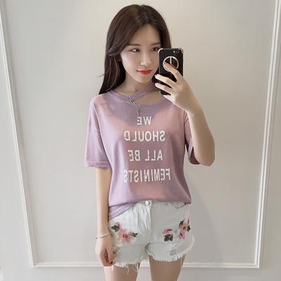 2017夏女装新款短袖T恤韩版宽松领口割开字母亮丝百搭上衣