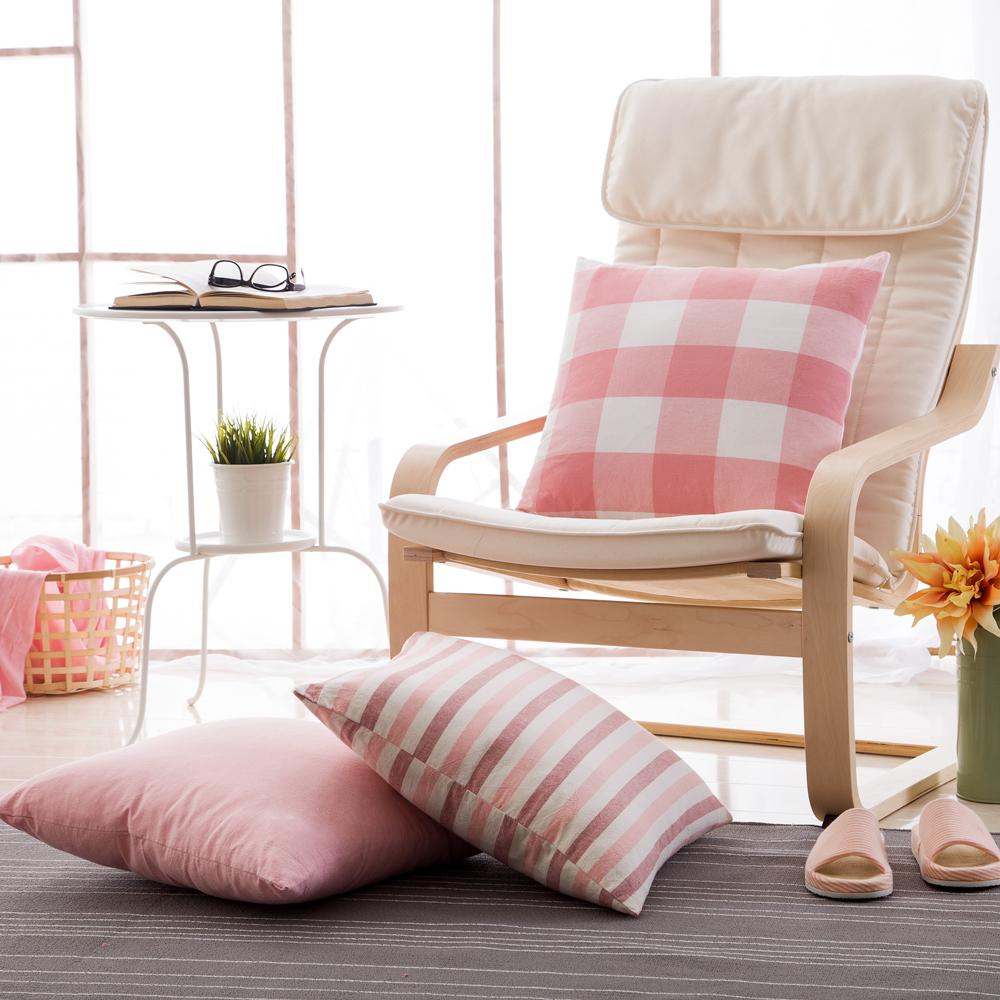 悅源 純棉全棉條紋格子純色素色家居抱枕沙發床頭汽車抱枕靠墊套