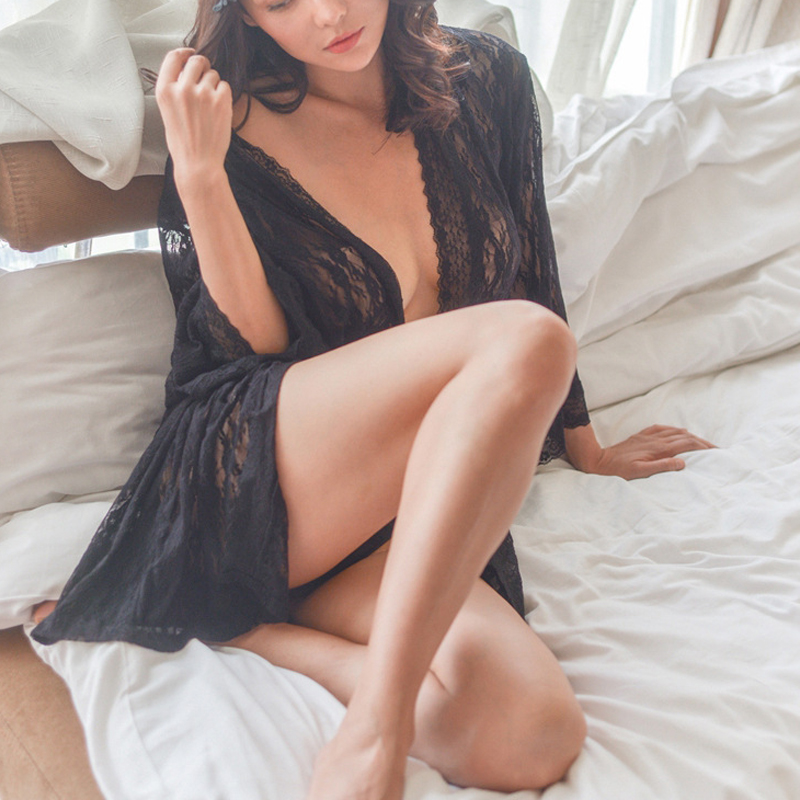 宋夫人的内衣店 性感睡衣女秋透视全蕾丝和服式系带睡衣睡袍外套
