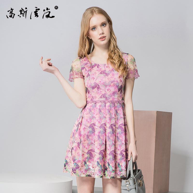 高斯雪岚女装  2018新款夏上衣春装 连衣裙雪纺中长款裙子