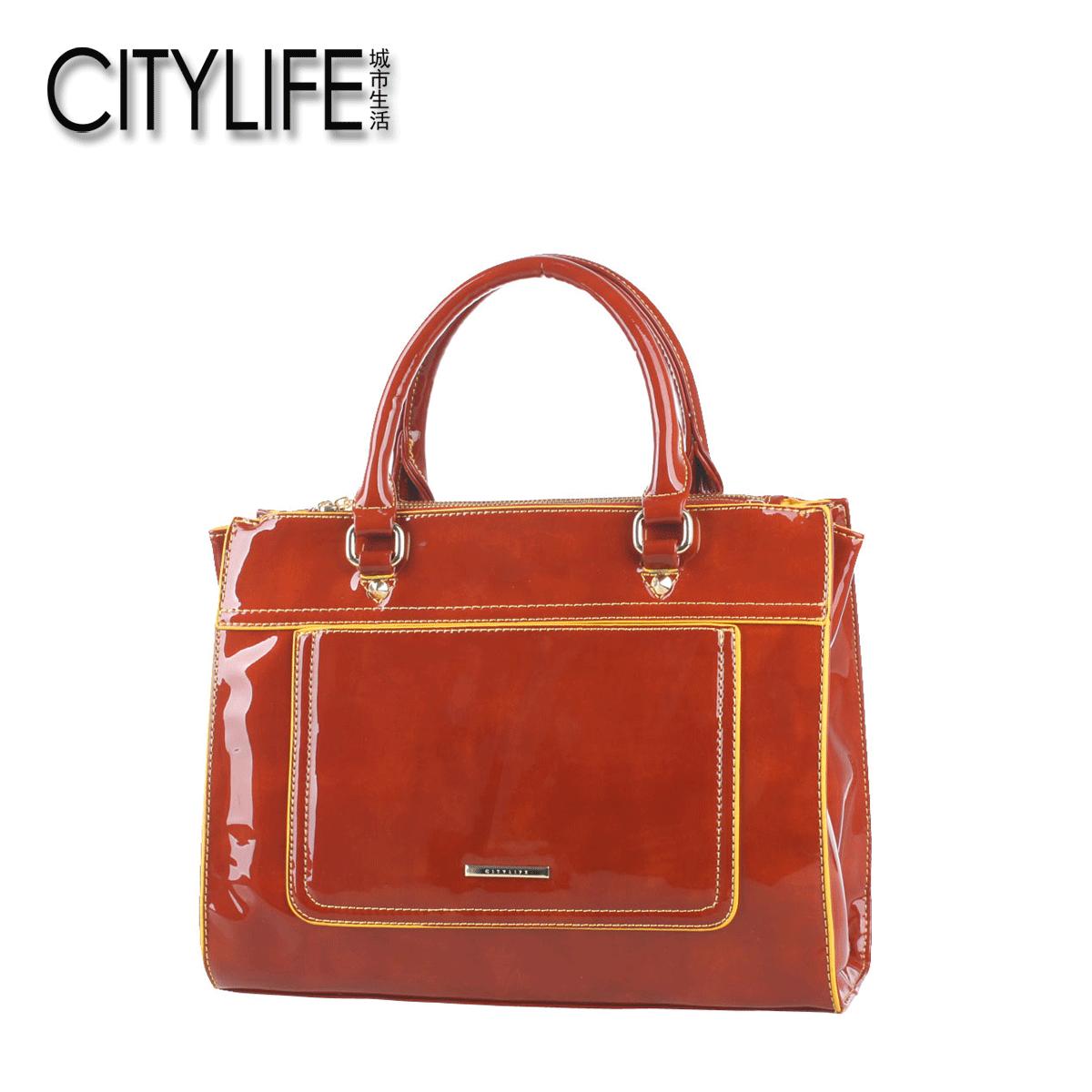 【售�r99】CITYLIFE城市生活 漆皮手提亮皮OL��I女包通勤包