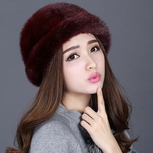 水貂毛女款皮草帽子冬天保暖女士整貂礼帽裘皮帽子盆帽渔夫帽