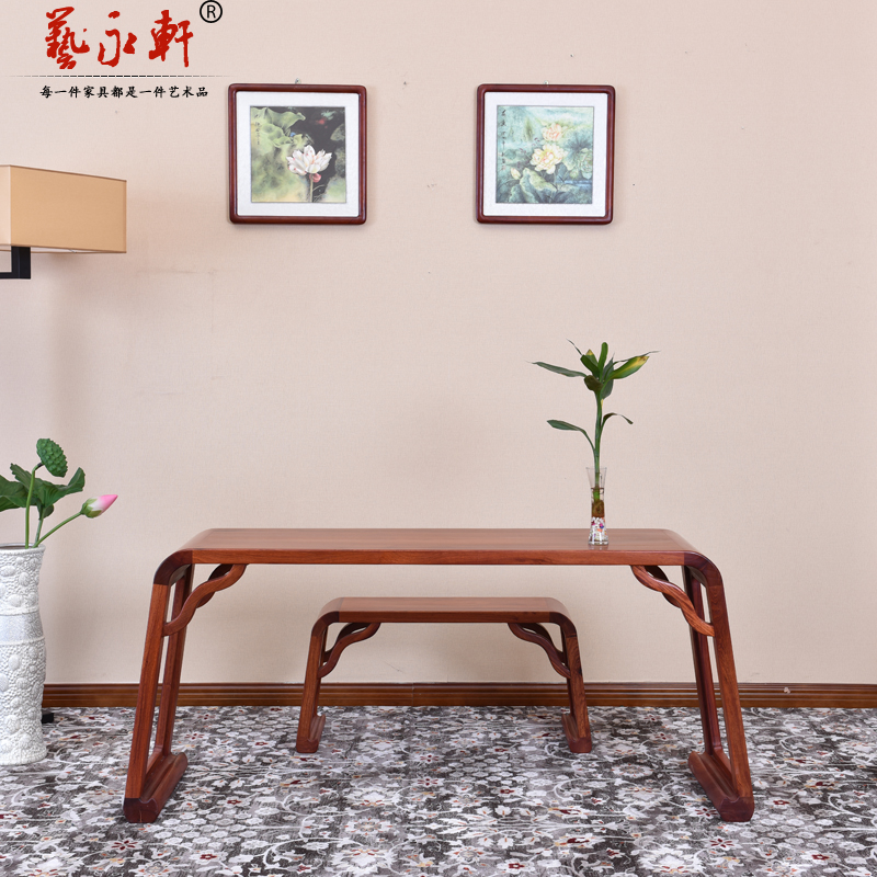 Бирманский палисандр ксилофон стол два наборы Большой фруктовый фиолетовый песчаный стол красный Китайский ксилофон стул из цельного дерева Guqin table stool копия древний
