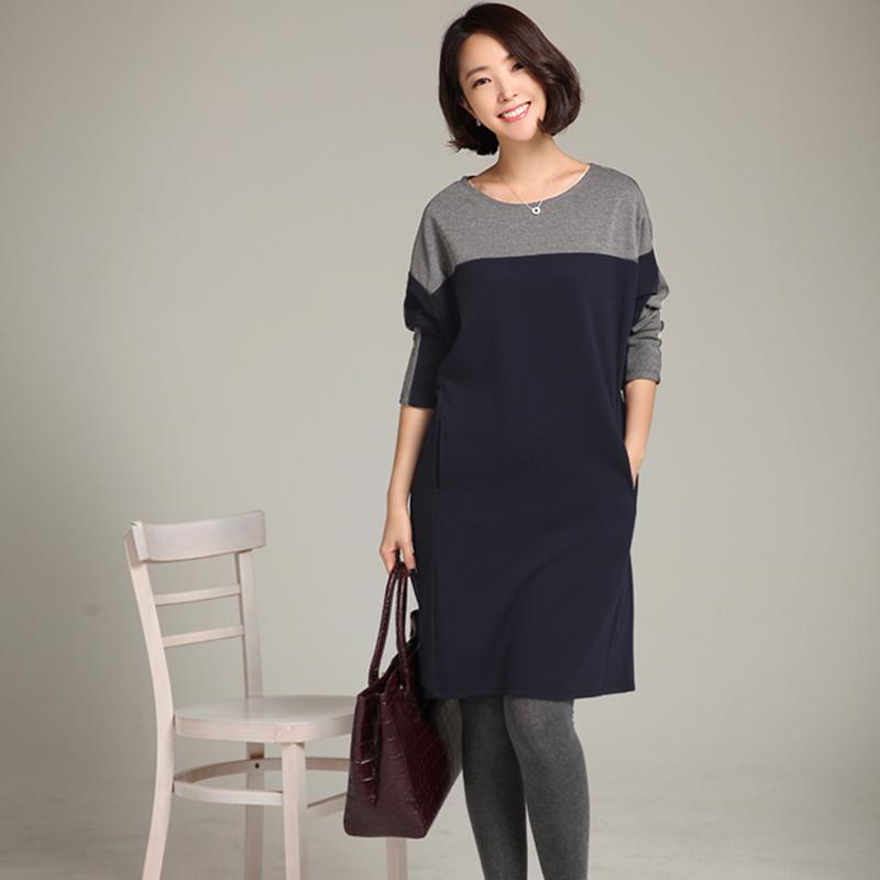 Добавить жир потерять жир сестра платье жира мм XL женщин осени новой корейской версии тонкий базы рубашки