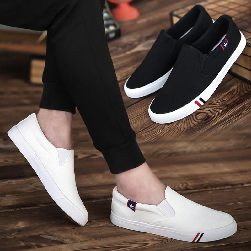 男士帆布鞋韩版潮流学生男鞋夏季板鞋百搭布鞋一脚蹬懒人休闲鞋潮