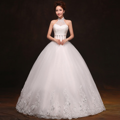 Bride wedding dress hanging neck new 2015 fashion simple Korean yards was thin lace Qi designed gowns-