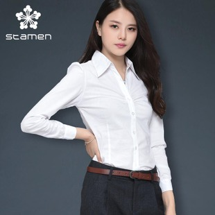 Stamen Women Korean OL commuter female long sleeved white shirt Slim shirt simple wild Siamese wear
