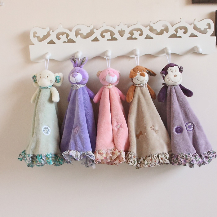 包郵康樂屋可愛小熊珊瑚絨超強吸水超柔軟掛式毛巾擦手巾 童巾