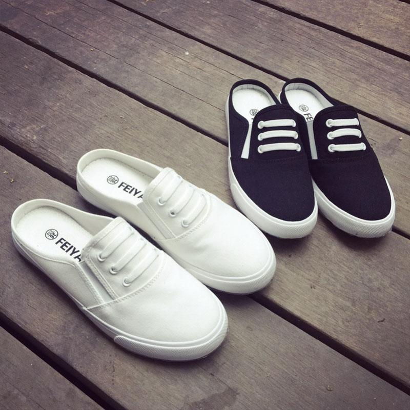 夏季时尚低帮白色帆布鞋女学生鱼嘴休闲拖鞋平底套脚透气布鞋韩版
