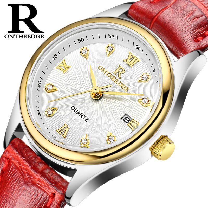 正品超薄防水商務真皮帶石英表女士手表女男腕表學生男士女表手表