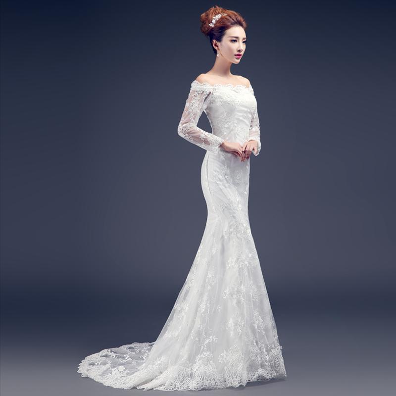 к 2015 году новых старинные кружева рыбий хвост платье от весны тонкий хвост лета с вытянутыми рукавами свадебное платье женщина