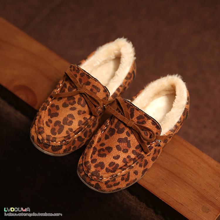 По уценке иметь дело с корейский ребенок снег сапоги девочки ботинки принцесса обувной леопард хлопок обувной ребенок обувной кожаная обувь волна