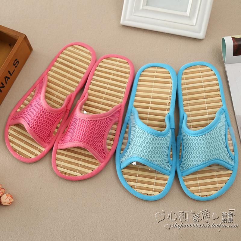Bamboo bottom Korean version of summer new plastic antiskid bamboo bottom mesh surface home slippers fashionable and comfortable summer cool slippers female trend