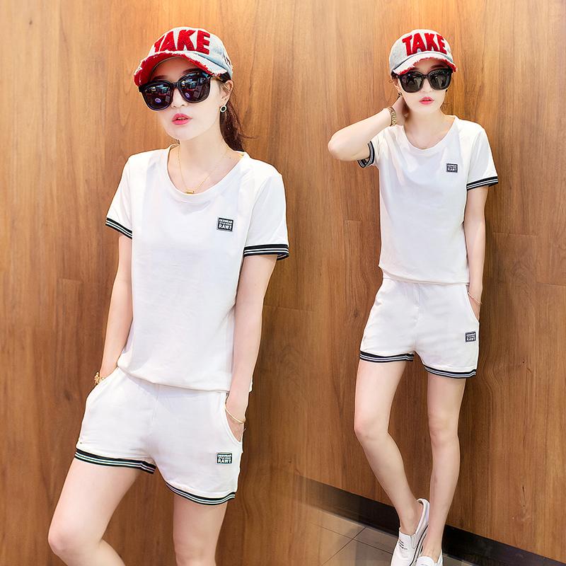 2017 夏裝 短袖短褲兩件套學生跑步 服兩件套 套裝女