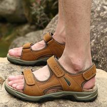 鞋男士夏季情侣防滑鞋子大码平跟凉拖魔术贴越南纯色罗马凉鞋