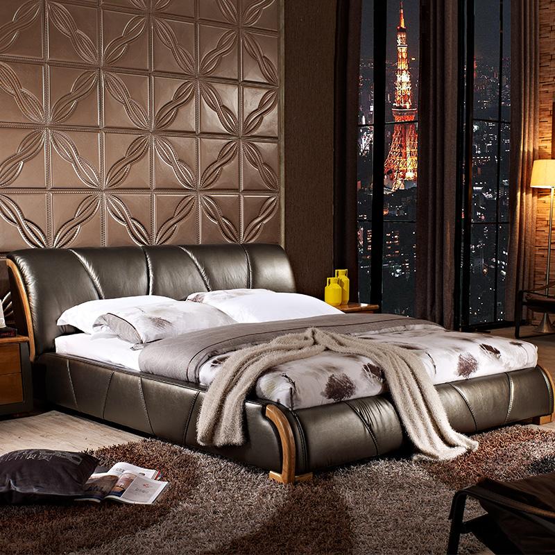 爱纶皮床北欧床现代简约真皮床1.8*2米双人皮艺床新款婚床AL6555