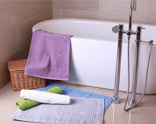 五星酒店加厚纯棉 防滑地巾 浴室地垫门垫 彩色脚垫吸水全棉