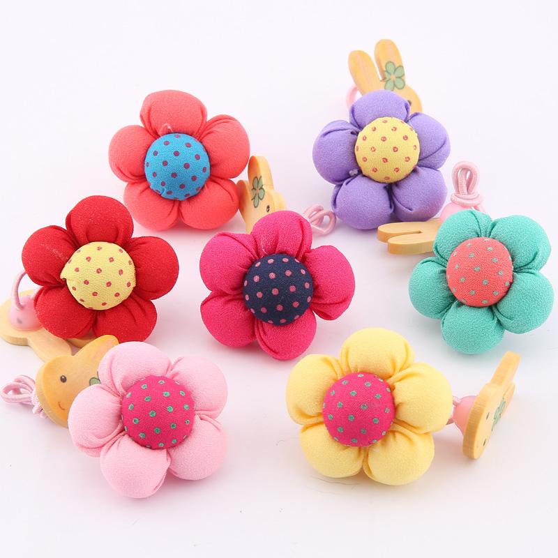 Korean children rabbit hair rope Tousheng Korean cute pumpkin flower headdress head flower hair accessories baby hair ring girls