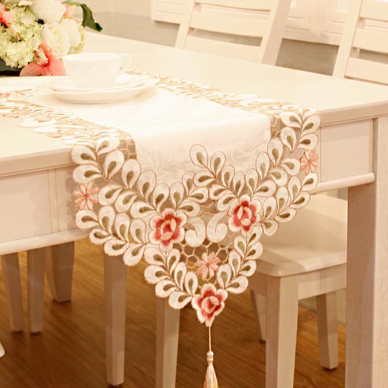 花木 繡花桌旗桌布茶幾布 美式床旗櫃旗桌墊長餐桌布歐式布藝田園