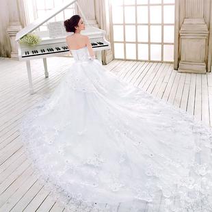 Дверь невесты свадебное платье 2 015 осенью и зимой корейской версии длинный хвост Сексуальная кружевной бюстгальтер невесты свадьба 811