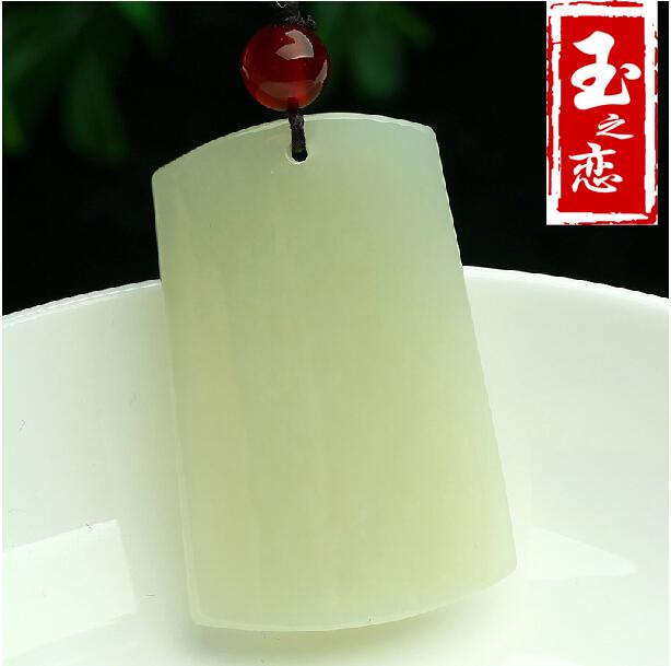 玉の恋の宝石天然の規格品新疆の羊脂と田玉の白玉の平安の札は玉にぶら下がって贈り物をして証明書を持ちます。