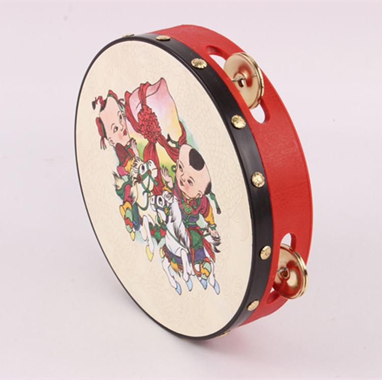 儿童打击乐器羊皮钱鼓幼儿园老师用大小铃鼓塑料新疆舞蹈手鼓
