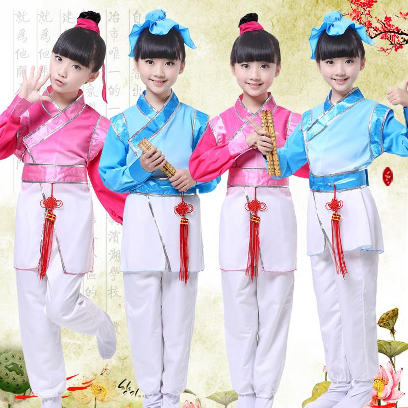 兒童古裝幼兒國學書童漢服三字經舞蹈男女童演出服弟子規表演服裝