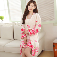 Qiu dong season new flannel two-piece nightgown robe female winter sweet peony coral fleece pajamas petticoats