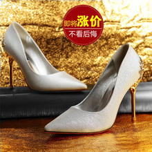 Europe and the United States in the fall of new light mouth high-heeled shoes leather pointed single shoes sexy fine with han edition wedding banquet pure color red