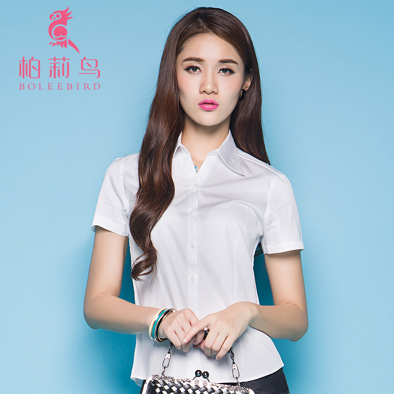 柏莉鳥 職業襯衫 女士短袖白色工作服女襯衣 工裝上衣正裝