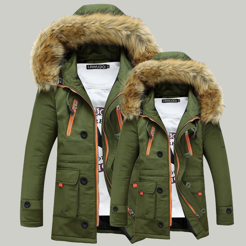 к 2015 году зима долго теплый любителей в корейской версии плюс размер куртки мужчин хлопка толстый тонкий длинной шерсти воротник хлопка износа