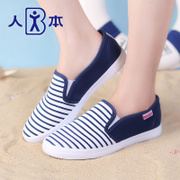 Humanistic stripes a pedal with the foot canvas shoes low cut thin nursing shoes at the end of the Korean version flows the lazy man shoes