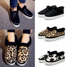 Leopard grain short boots for men and women cowhide leather horse wool one more short boots lovers warm cotton shoes